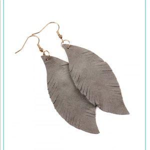 Grey fringe leather earring